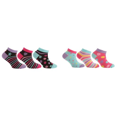 Childrens Girls Patterned Liner Socks (Pack Of 3)
