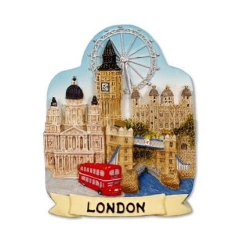 London Skyline Scenic Fridge Magnet Tower Bridge Big Ben Bus London Eye St Pauls Souvenir Gift
