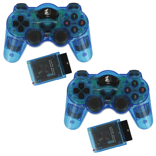 Wireless RF double shock vibration controller for PS2 - Blue twin pack ZedLabz