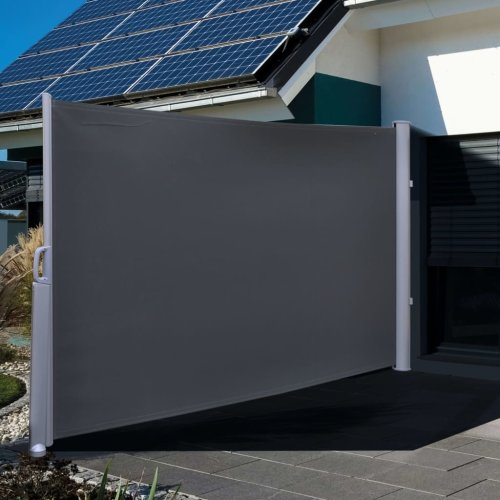 HI Privacy Screen Outdoor Use 3x1.6m Black Polyester Wind Breaker Side Awning
