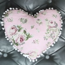 Pink Chintz Heart Cushion