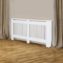 Homcom Radiator Cover Painted Slatted Cabinet Mdf Lined Grill White 19w X 81h (cm)