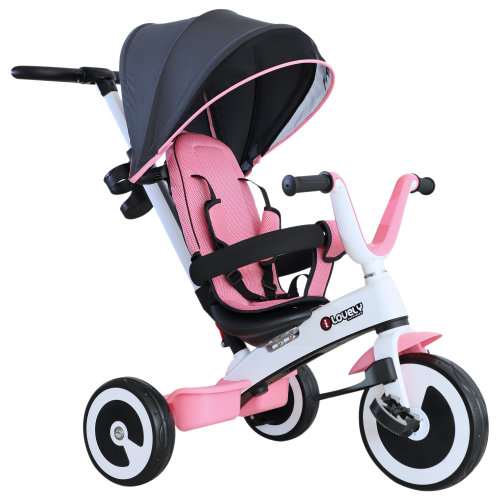 HOMCOM Baby Tricycle Children's 4 In 1 Trikes Kids Stroller W/ Canopy 3 Wheels - Pink