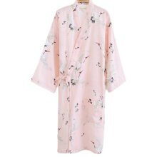 Japanese Style Women Thin Cotton Bathrobe Pajamas Kimono Skirt Gown-A16