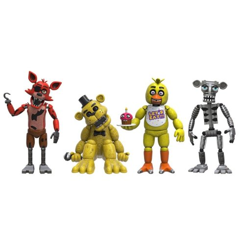Funko 8863 Five Nights at Freddy's Action Figure 4 Pack - Foxy, Gold Freddy, Chica, and Endoskeleton Freddy