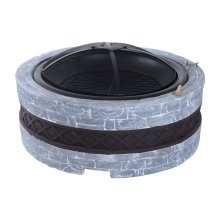 Outsunny Patio Metal Round Fire Pit Fibreglass Stone Effect Garden Dia. 75cm
