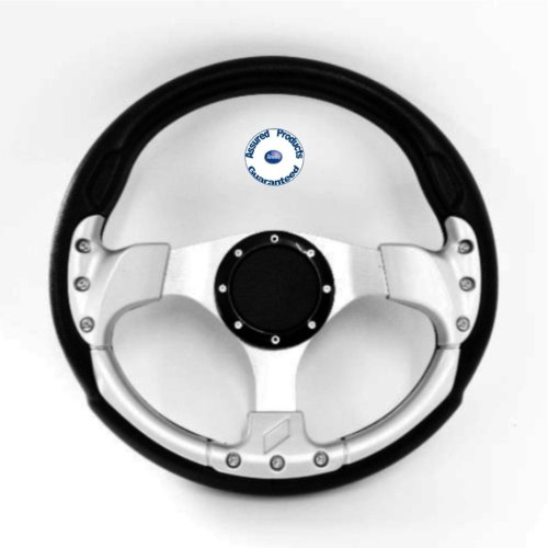 """""""Delux Sport"""" Sports Boat Steering Wheel BLACK and SILVER"""