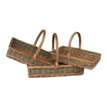 Large Flat Rectangular Country Unpeeled Garden Trugs