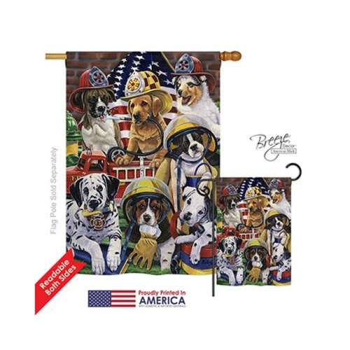 Breeze Decor 10048 Pets Hero Helpers 2-Sided Vertical Impression House Flag - 28 x 40 in.