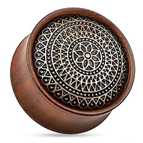 Brass Latice and Dot Work Design Antique Rose Wood Flesh Tunnel Ear Saddle Plug