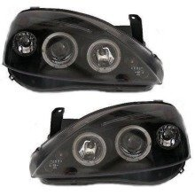 Vauxhall Corsa C 2000-2006 Black Angel Eyes Halo Headlights Pair