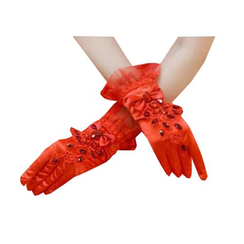 Girls / Ladies Lace Bridal Bride Short Gloves Wrist Wedding Party Costume Prom,A
