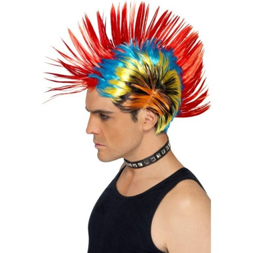 Multi Coloured Rainbow Punk Mohawk Wig -  80s wig punk mohawk fancy dress street multi smiffys mens adult costume