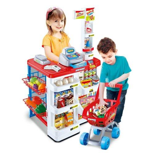Kids Role Play Supermarket Set Superstore Shop Toys Children Supermarket Lights and Sound(Red)