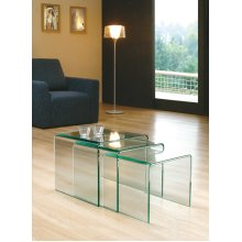 Milan 12mm Tempered Bent Glass Nest of 3 Tables