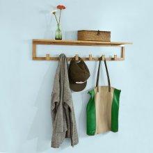 SoBuy® FHK06-N, Bamboo Wall Mounted Coat Rack with 6 Hooks