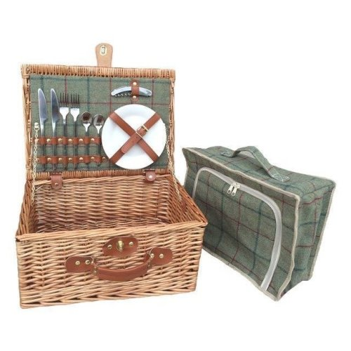 2 Person Green Tweed Fitted Picnic Basket