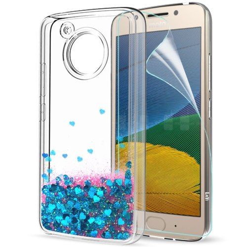 Moto G5 Phone Case Silicone with HD Screen Protector, LeYi Shiny Sparkly Bling Glitter Liquid 3D Quicksand Cute Thin Clear Transparent TPU Elastic...