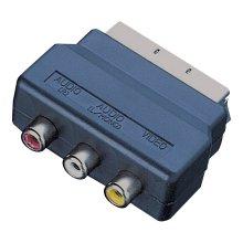 Scart Plug to 3 Phono Sockets Adaptor (Audio Video In)