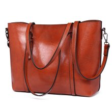 Miss Lulu Women's Zipped PU Leather Tote Bag