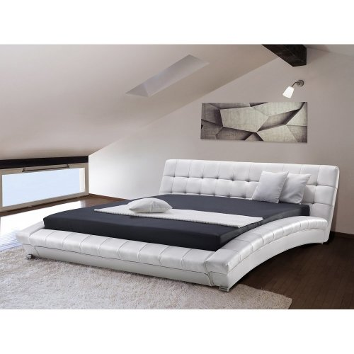 Super King Size - 6 ft  - Leather Bed 180x200 cm - incl. stable slatted frame - LILLE