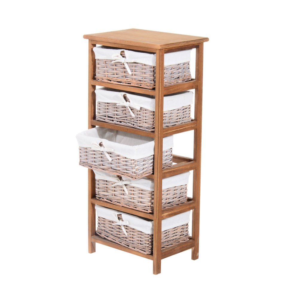 homcom 5 drawer storage unit wooden frame with wicker woven baskets household cabinet chest on onbuy. Black Bedroom Furniture Sets. Home Design Ideas