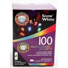 100 Mulit Colour LED Christmas Batterry Operated (120 Hours) Lights + Timer & 8 -  led outdoor timer battery christmas lights indoor 100 colour multi