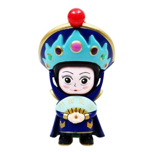 Chinese Opera Face Changing Doll Sichuan Opera Figure Toy, Blue Hat, Blue