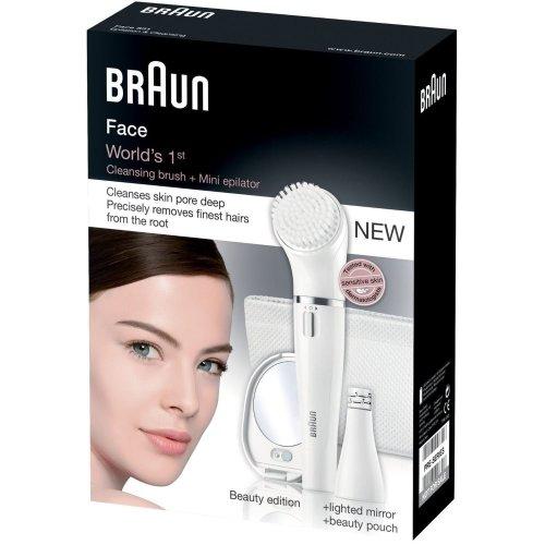 Braun Womens Face 831 Beauty Edition, Worlds 1st Cleansing Brush & Mini Epilator