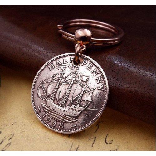 1948 British Ha'penny Half Penny Coin Keyring Birthday Gift