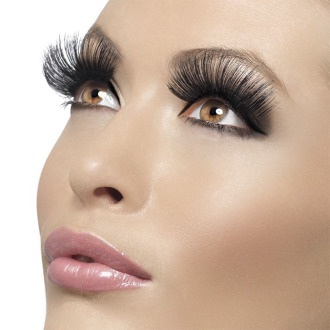 af8c8bd0636 Long 60's Black Fake Eyelashes - eyelashes black long fancy dress 60s style  false ladies make up 1960s accessory fake fever on OnBuy