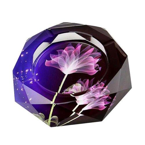 [Flower-2] Rhombus Shape Crystal Cigarette Ashtray Ash Tray Tabletop Decoration