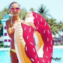 Official 'Perfect Pools' Inflatable Giant Doughnut Rubber Ring | Doughnut Pool Float