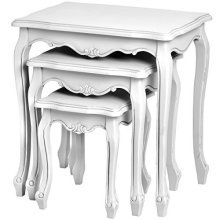 Florence Nest Of Tables - White Shabby Chic Side Coffee French Country Console -  nest tables white shabby chic side coffee french country console