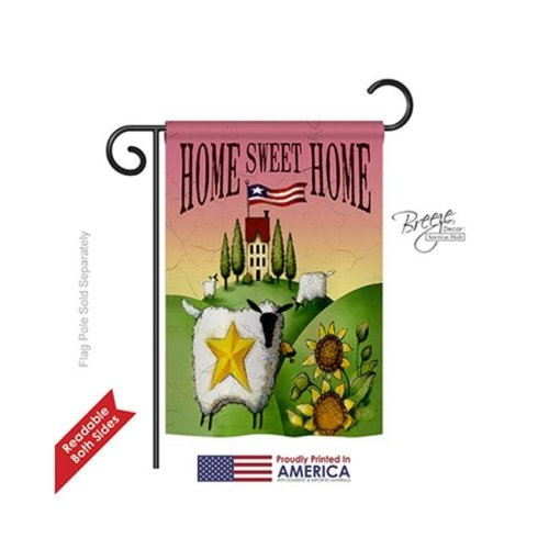Breeze Decor 50061 Welcome Sheep Home Sweet Home 2-Sided Impression Garden Flag - 13 x 18.5 in.