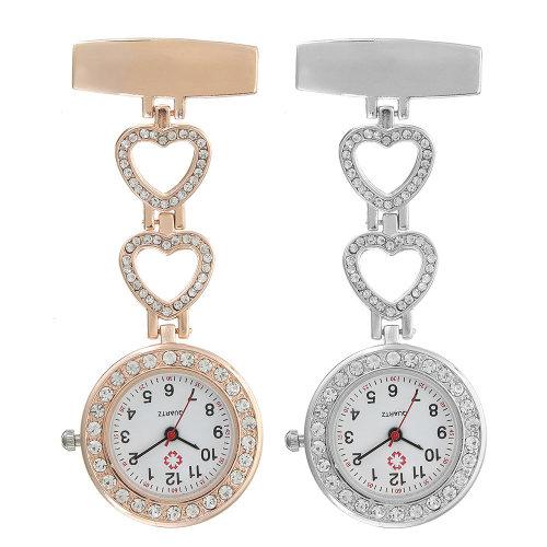 76f8765c156 Luxury Stainless Steel Strap Crystal Heart Dial Quartz Fob Medical Nurse  Pocket Watch on OnBuy