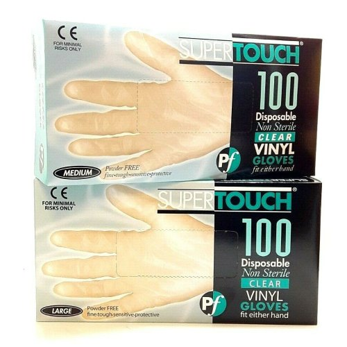 1 BOX SUPERTOUCH CLEAR VINYL GLOVES DISPOSABLE POWDER FREE 100 EACH CATERING GENERAL