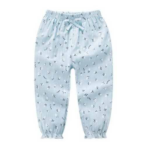 Comfortable Soft Children's Trousers, Light Blue And Small Flowers