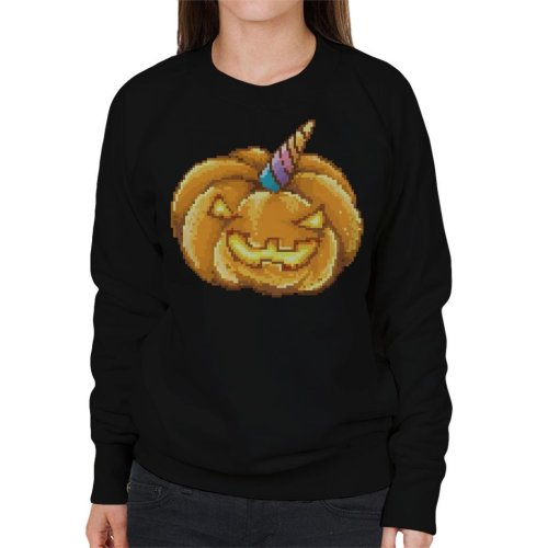 Jack O Lantern Unicorn Pixel Art Women's Sweatshirt