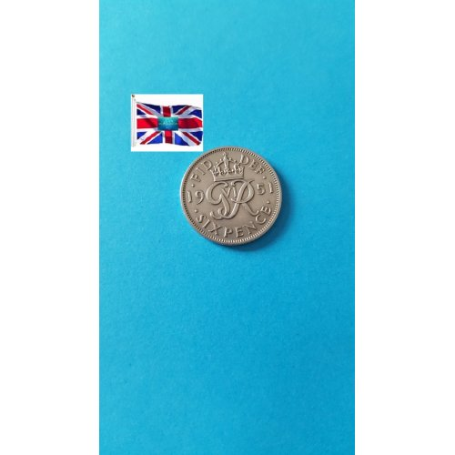 """Great Britain 1951 """"6 Pence - George VI 3rd coinage; without 'IND:IMP'"""