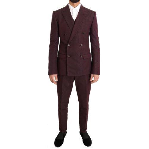 Dolce & Gabbana Bordeaux Slim 3 Piece Double Breasted Suit