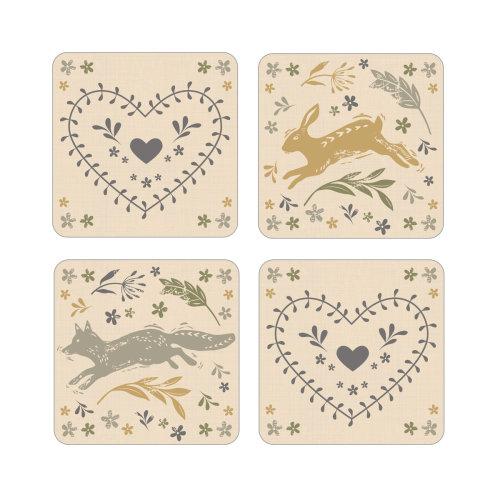 Cooksmart Pack of 4 Woodland Coasters