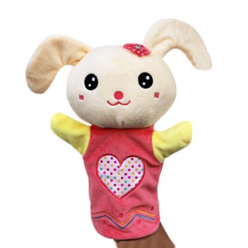Lovely Kid's Glove Puppet Hand Dolls, Pink Rabbit