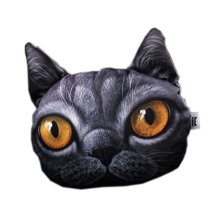 3D Cute Pet Dogs and Cats Face Head Pillow, Black Cat
