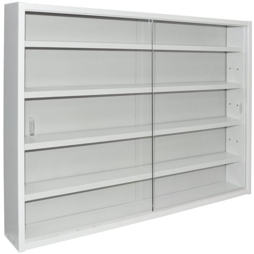 REVEAL - 4 Shelf Glass Wall Collectors Display Cabinet - White