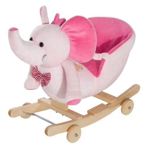 Homcom Ride on Rocking Toy 2 in 1 Plush Elephant