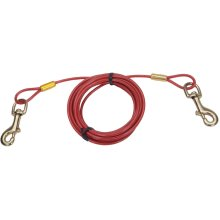Titan Heavy 30' Dog Tie Out Cable W/Brass Plated Snaps-Red