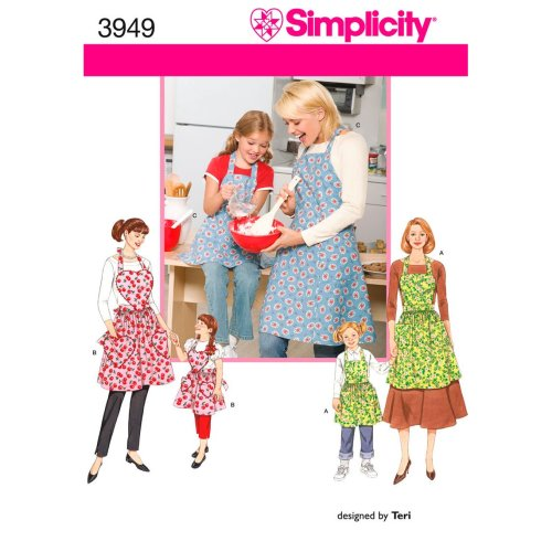 SIMPLICITY CHILD'S AND MISSES APRONS-S-M-L / S-M-L