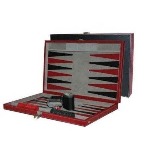 """18"""" Faux Leather Backgammon Recreational Game Set, Black/Red"""