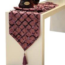 Fashionable Velvet Gilding Plaid Decor Table Runner(12*71 inch),Purple